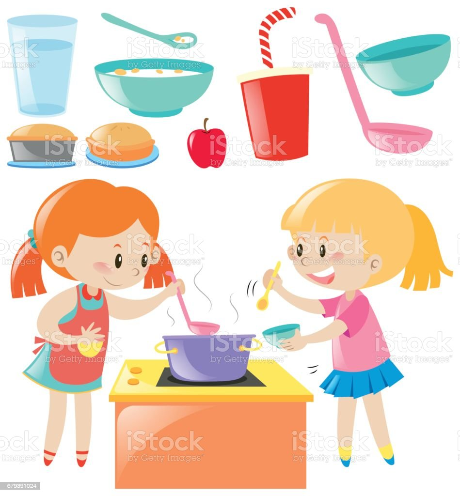 Ilustracin de Juego De Chicas Cocina Y Alimentos y ms banco de