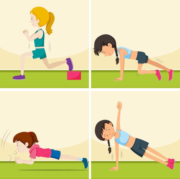 Reihe von Mädchen, die Übungen – Vektorgrafik
