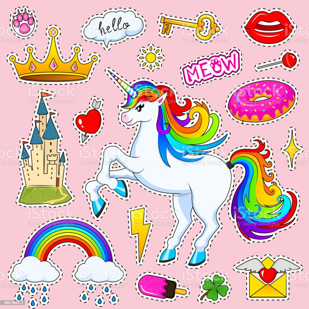 Set of girls fashion cute patches, fun stickers, badges and pins. Collection different elements. Unicorn lips and ponies, rainbow and sweets for Princess. Vector trendy illustration royalty-free set of girls fashion cute patches fun stickers badges and pins collection different elements unicorn lips and ponies rainbow and sweets for princess vector trendy illustration stock vector art & more images of no people