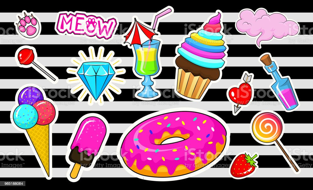 Set of girls fashion cute patches, fun stickers, badges and pins. Collection different elements. Princess and unicorn, lips and ponies, rainbow and sweets. Vector trendy illustration royalty-free set of girls fashion cute patches fun stickers badges and pins collection different elements princess and unicorn lips and ponies rainbow and sweets vector trendy illustration stock vector art & more images of no people
