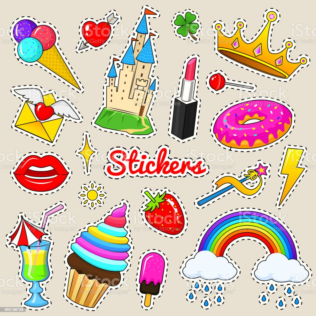 Set of girls fashion cute patches, fun stickers, badges and pins. Collection different elements. castle strawberry lips crown strawberry ice cream candy. Vector trendy illustration set of girls fashion cute patches fun stickers badges and pins collection different elements castle strawberry lips crown strawberry ice cream candy vector trendy illustration - stockowe grafiki wektorowe i więcej obrazów archiwalny royalty-free