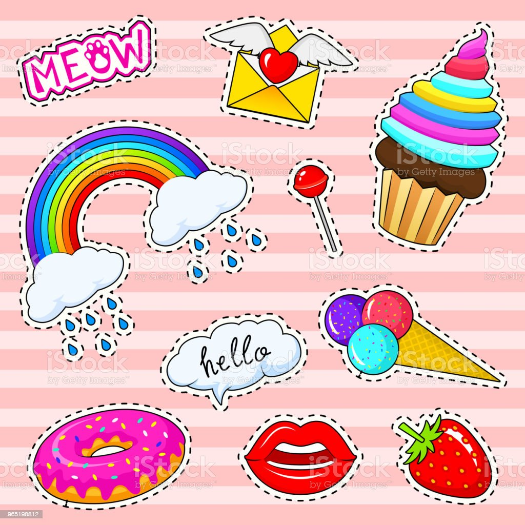 Set of girls fashion cute patches, fun stickers, badges and pins. Collection different elements. rainbow capkake lips ice cream donut meow strawberries for Princess. Vector trendy illustration set of girls fashion cute patches fun stickers badges and pins collection different elements rainbow capkake lips ice cream donut meow strawberries for princess vector trendy illustration - stockowe grafiki wektorowe i więcej obrazów archiwalny royalty-free