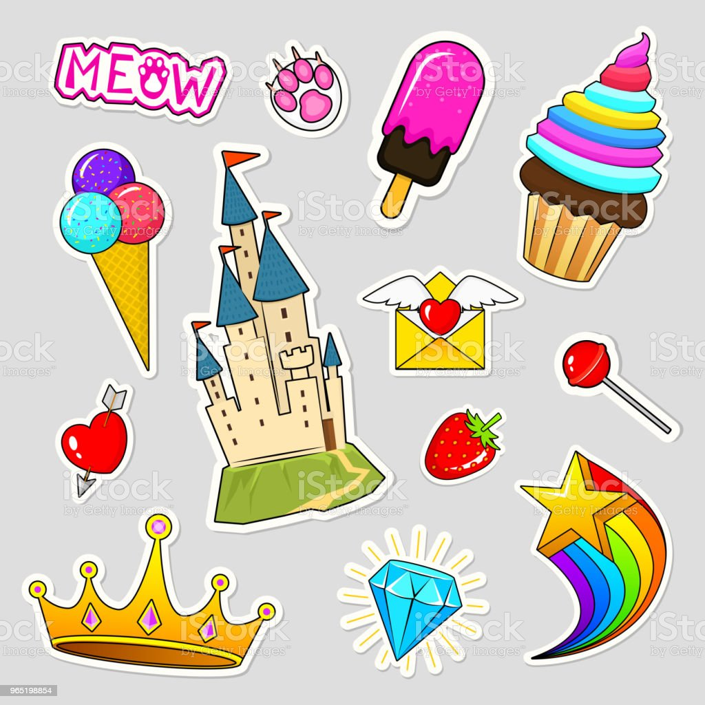 Set of girls fashion cute patches, fun stickers, badges and pins. Collection different elements. castle strawberry lips crown strawberry ice cream candy. Vector trendy illustration royalty-free set of girls fashion cute patches fun stickers badges and pins collection different elements castle strawberry lips crown strawberry ice cream candy vector trendy illustration stock vector art & more images of archival