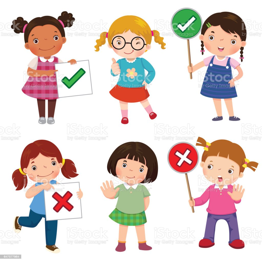 Set of girls holding and doing right and wrong signs vector art illustration