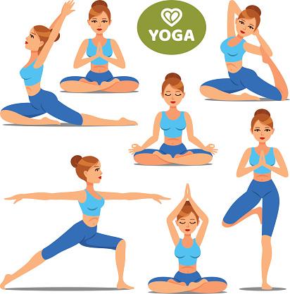 set of girls in various poses of yoga woman yoga poses