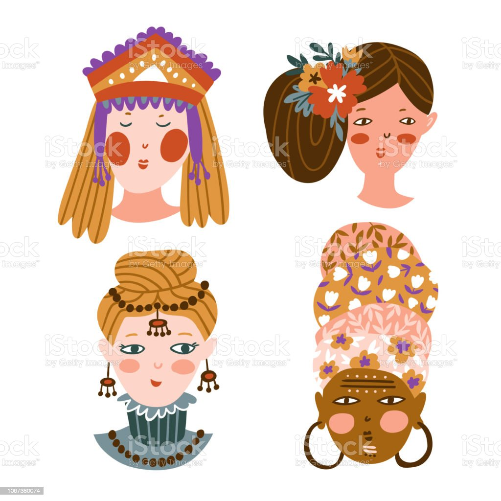 Set of girls of different nationalities and religions. Cute and funny characters. Collection of avatars for web social networks or blogs. Vector illustration. vector art illustration