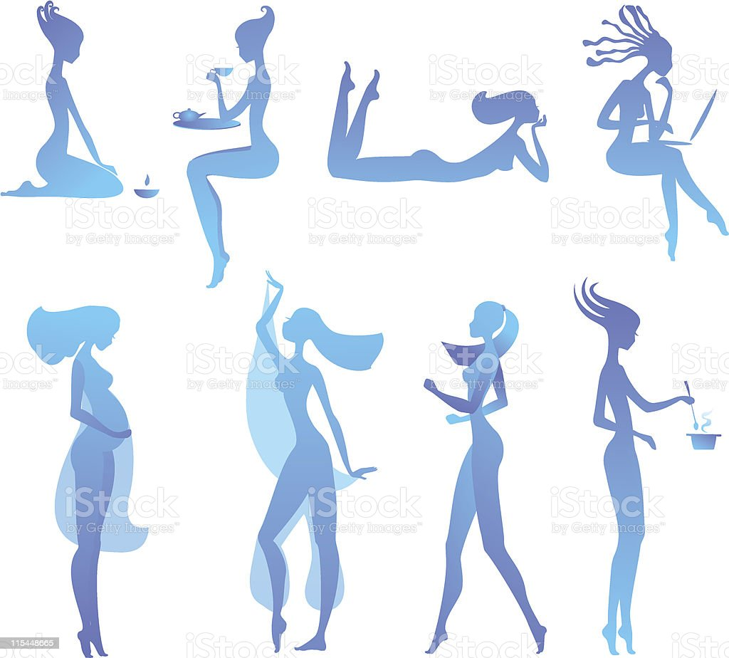 set of girl's sillhouettes in different activities vector art illustration