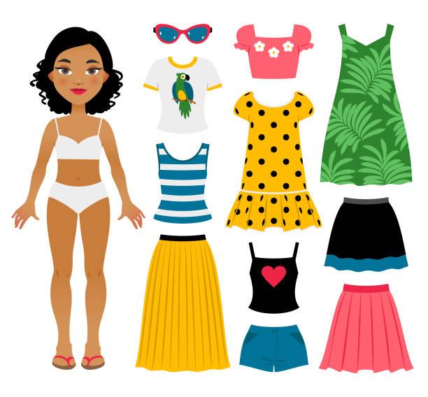 stockillustraties, clipart, cartoons en iconen met set girl's zomer kleding - clothes