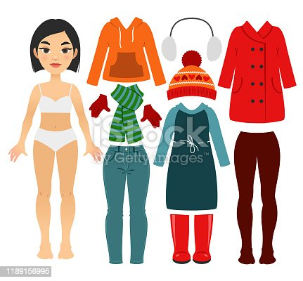 Set of girl's fall and winter clothes isolated on a white background