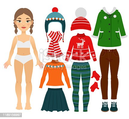 istock Set of girl's warm clothes 1189156997