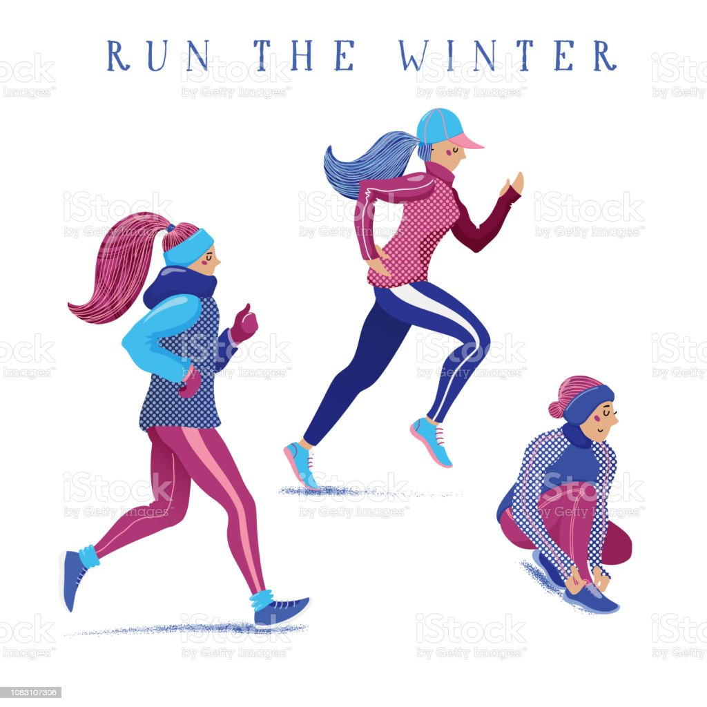 89294458b4d3 Set Of Girls Women Running Jogging In Winter Stock Vector Art   More ...