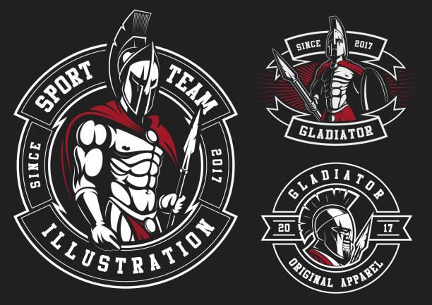 satz von gladiatoren - sportschutzhelm stock-grafiken, -clipart, -cartoons und -symbole