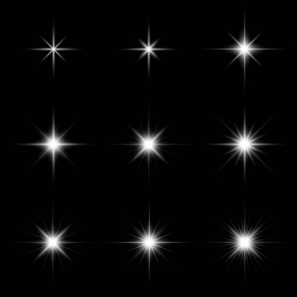Set of glare lighting, twinkle lens flares and stars burst with sparkles Set of glare lighting, twinkle lens flares and stars burst with sparkles on black background vector illustration disco lights stock illustrations