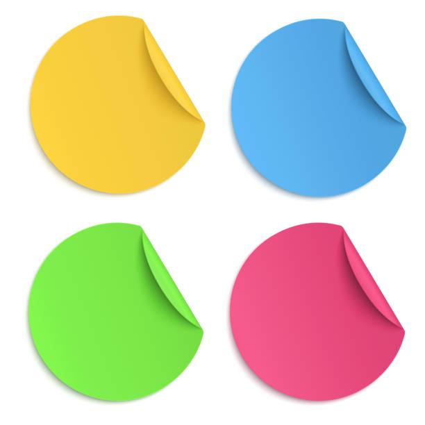 set of glaring colour round paper sticker isolated on white background - naklejka stock illustrations