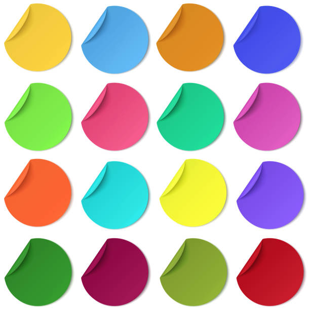 set of glaring colour round paper sticker with edge curl isolated. colorful image. - naklejka stock illustrations