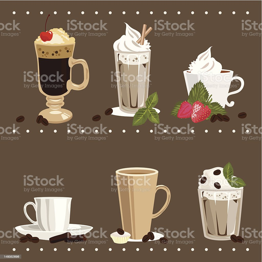 Set of Glass and Cups with Coffee vector art illustration