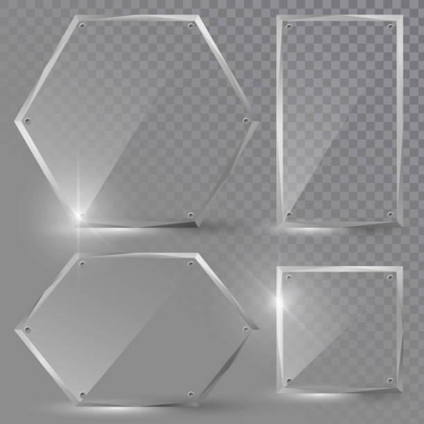 ガラスのバナーの設定 - ガラスのテクスチャ点のイラスト素材/クリップアート素材/マンガ素材/アイコン素材