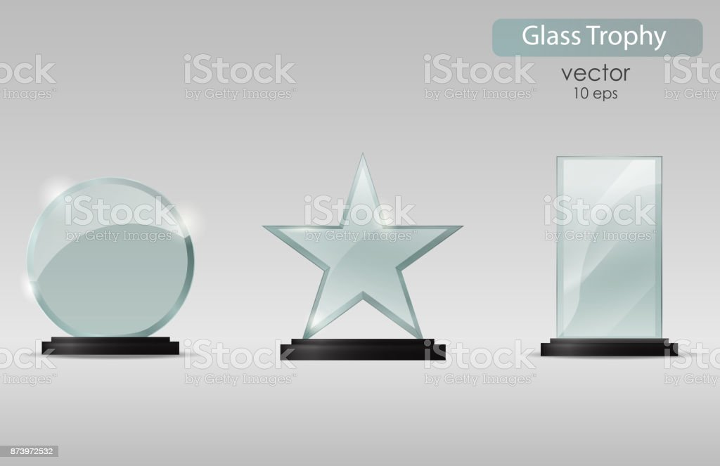 Set Of Glass Cups Trophy Award Vector Illustration Isolated On Transparent Background
