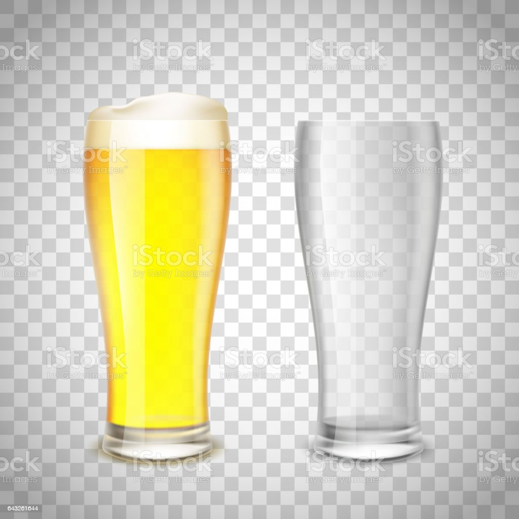 Set of glass, empty and with beer on a transparent background. vector art illustration