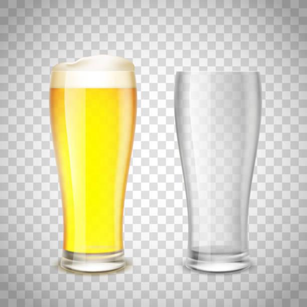 Conjunto de vidro, vazio e com cerveja em um fundo transparente. - ilustração de arte em vetor