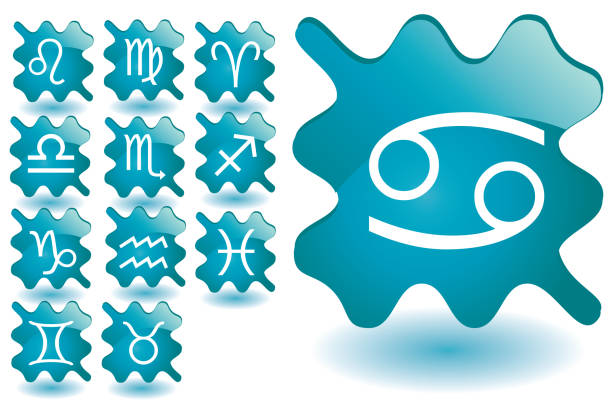 Set of glass gel push buttons with zodiac signs vector art illustration
