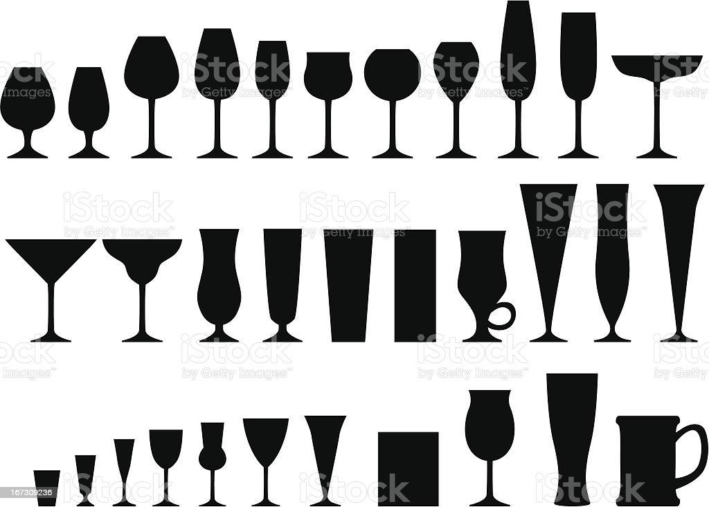 Set of glass goblets vector art illustration