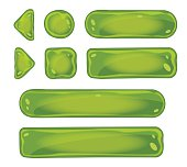 Set of glass green icons for interfaces