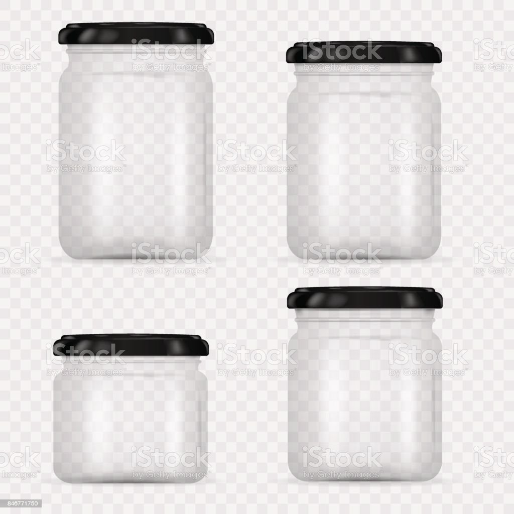 Set of Glass Jars for canning and preserving. Vector Illustration isolated on transparent background.Empty transparent glass jar with screw cap. Round Shape Glass Canister. vector art illustration