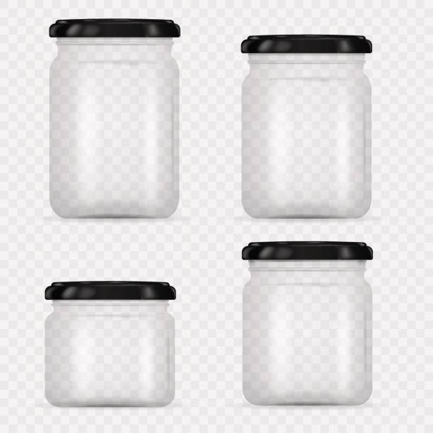 Set of Glass Jars for canning and preserving. Vector Illustration isolated on transparent background.Empty transparent glass jar with screw cap. Round Shape Glass Canister. Set of Glass Jars for canning and preserving. Vector Illustration isolated on transparent background.Empty transparent glass jar with screw cap. Round Shape Glass Canister. Eps 10. container stock illustrations