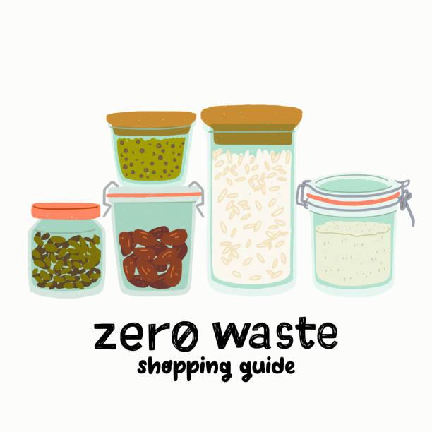 ilustrações de stock, clip art, desenhos animados e ícones de set of glass jurs for zero waste concept - quinoa