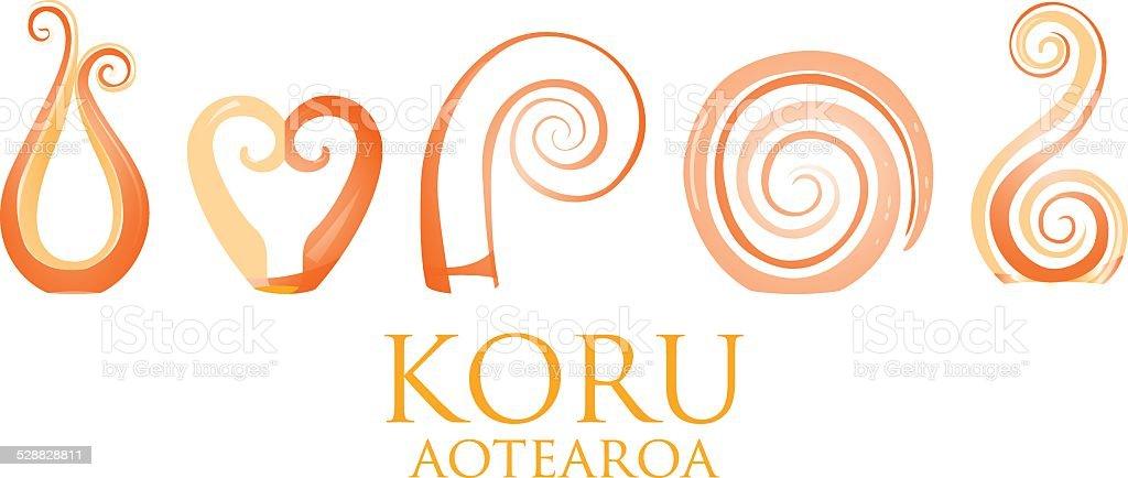 8627c6906acd0 Set of glass Maori Koru curl ornaments. royalty-free set of glass maori koru