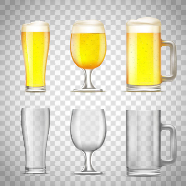 Set of glass of beer Set of glass of beer and jug, empty and with alcohol on a transparent background. Stock vector illustration. beer glass stock illustrations