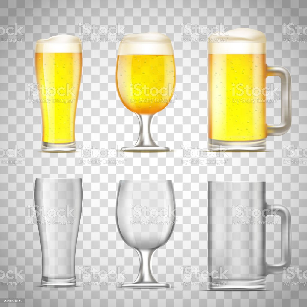 Set of glass of beer vector art illustration