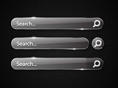 Set of glass search bars isolated on black background. Vector template for websites