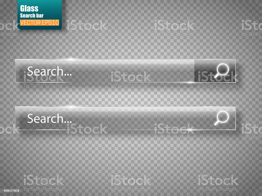 Set of glass search bars isolated . Vector template for websites vector art illustration