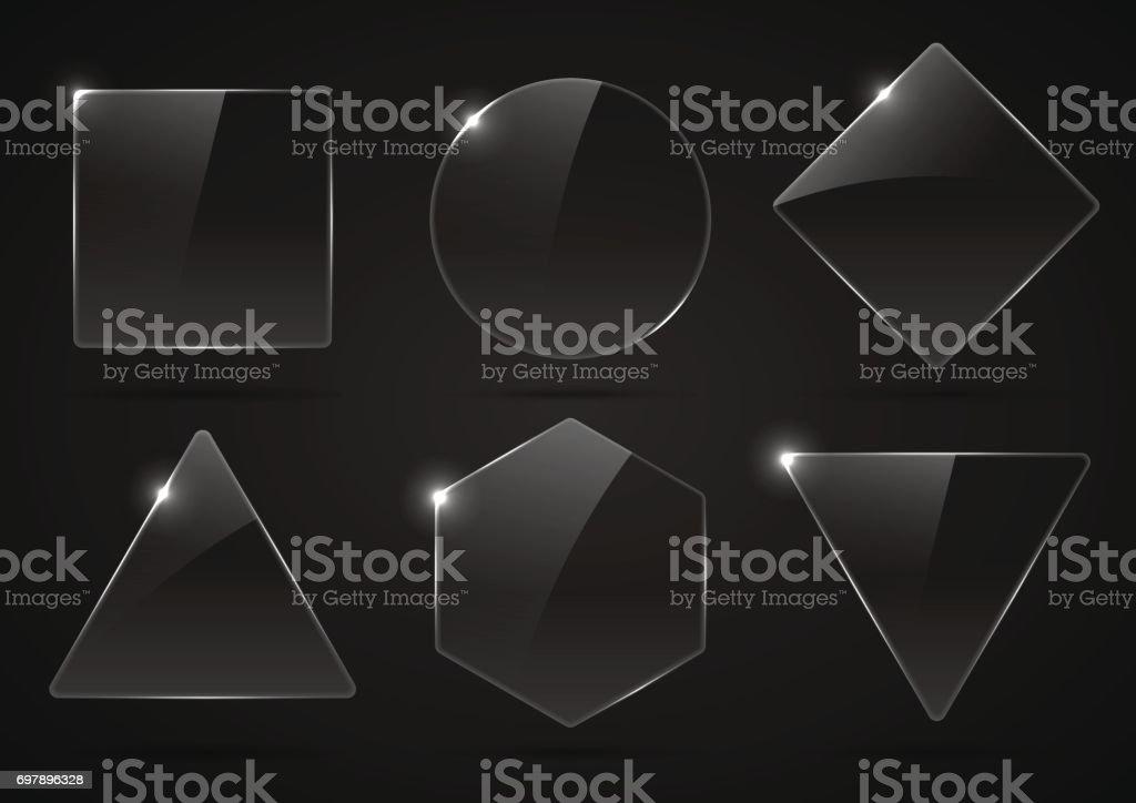 Conjunto de vidro, transparentes formas geométricas. - Vetor de Armação de Construção royalty-free