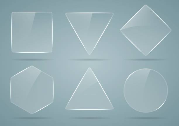 Set of glass, transparent geometric shapes. vector art illustration