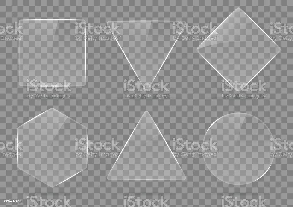 Conjunto de cristal, transparentes formas geométricas. - ilustración de arte vectorial