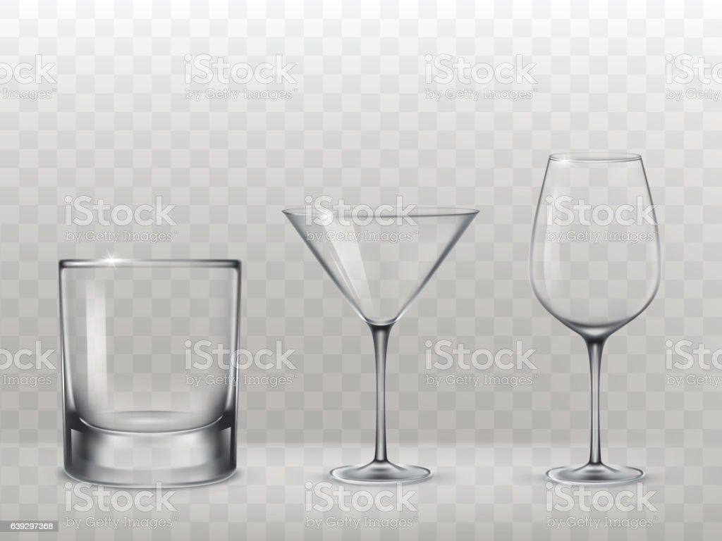 Set of glasses for alcohol in a realistic style vector art illustration