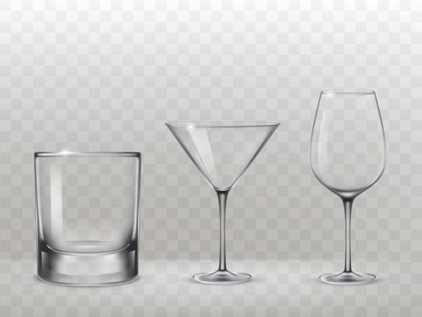 set of glasses for alcohol in a realistic style - space background stock illustrations
