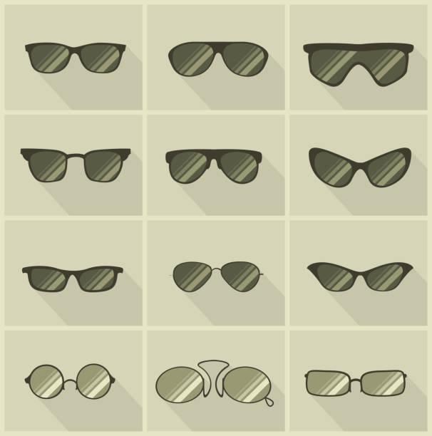 set of  glasses in vintage style olive color background vector art illustration