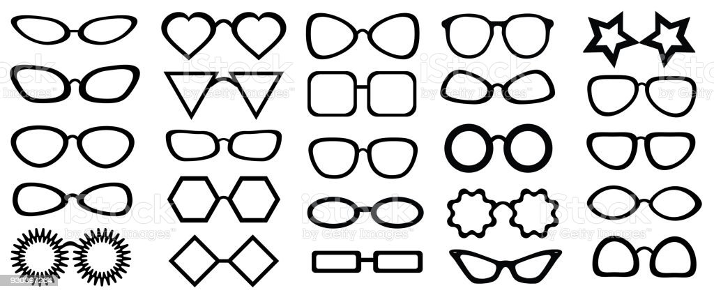 Set Of Glasses Isolated 25 Pieces Vector Illustration On White ...