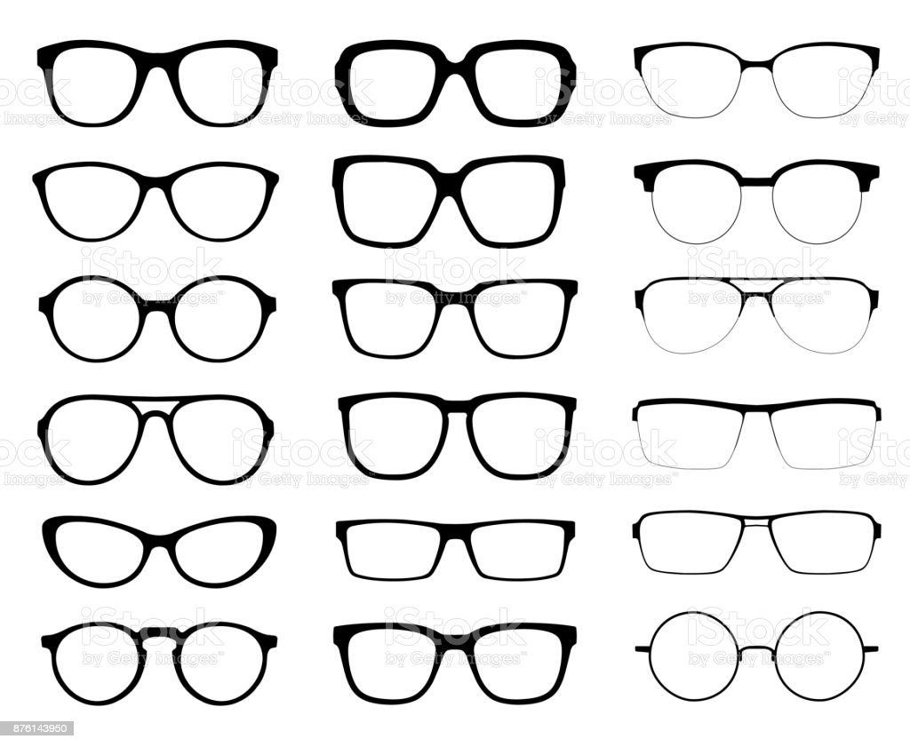 A set of glasses isolated. Vector glasses model icons. Sunglasses, glasses, isolated on white background. Silhouettes. Various shapes - stock illustration. vector art illustration