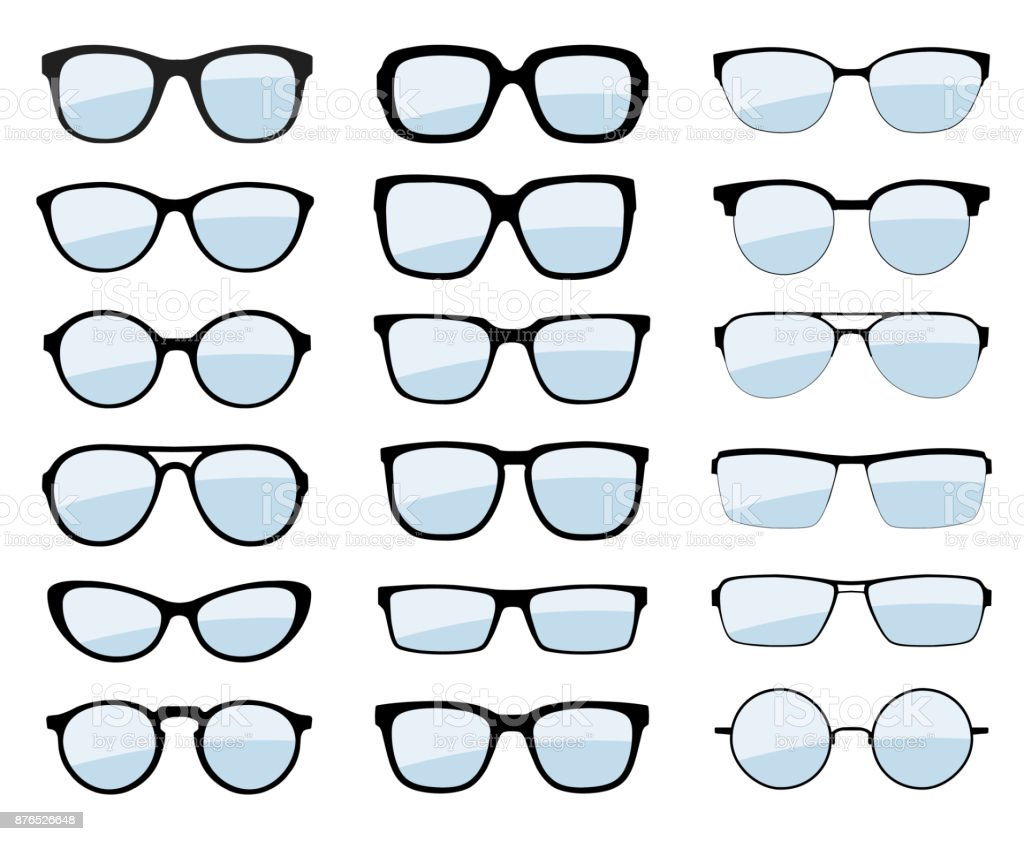 78414eb19af A Set Of Glasses Isolated Vector Glasses Model Icons Sunglasses ...