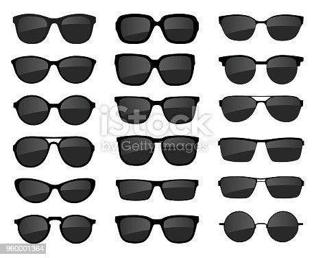 A set of glasses isolated. Vector glasses model icons. Sunglasses, glasses, isolated on white background. Various shapes - stock vector.