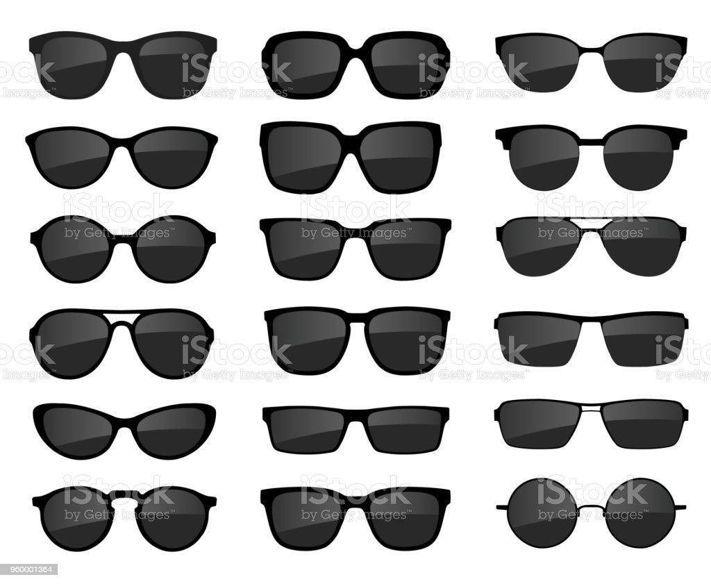 A set of glasses isolated. Vector glasses model icons. Sunglasses, glasses, isolated on white background. Various shapes - stock vector. vector art illustration