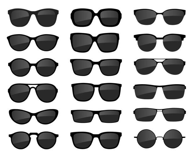 a set of glasses isolated. vector glasses model icons. sunglasses, glasses, isolated on white background. various shapes - stock vector. - okulary stock illustrations