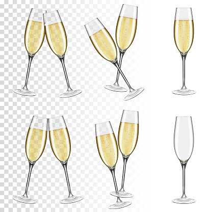 Set of glasses of champagne, isolated on transparent background.