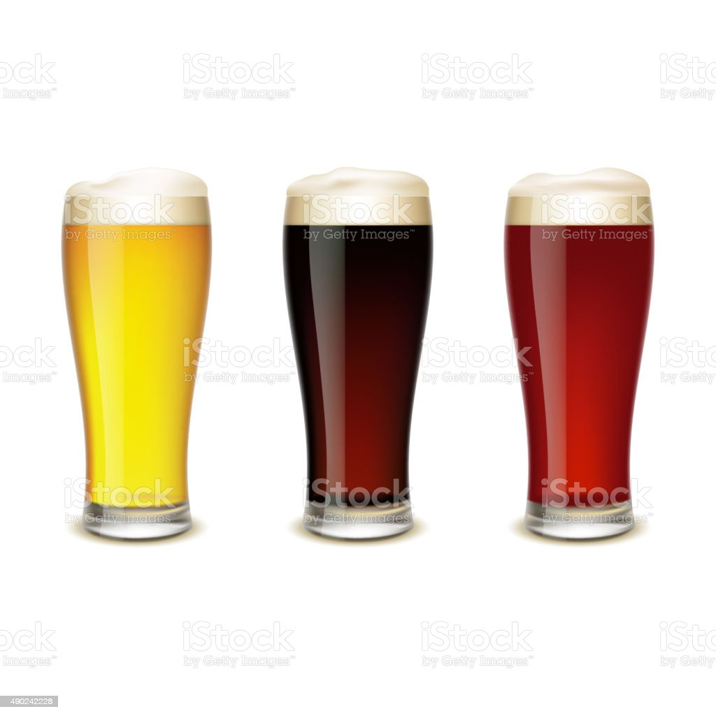 Set of glasses with beer vector art illustration