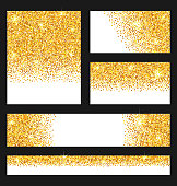 Set of Glitter Cards. Golden Surface. Copy Space for Your